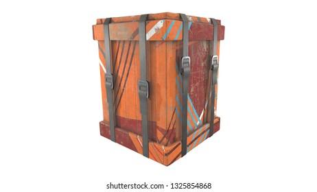 Wooden Loot Crate - 3D rendering