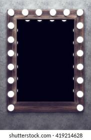 Wooden makeup mirror on the concrete wall. 3D rendering