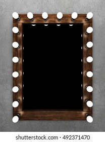 Wooden makeup mirror on concrete wall. 3D rendering