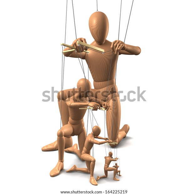 Wooden Marionettes Puppets On Strings One Stock Illustration 164225219