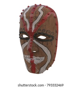 wooden mask painted with paints on an isolated white background. 3d illustration