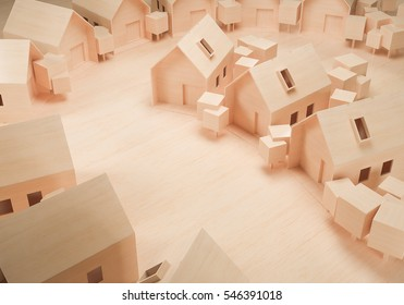 wooden mass model house 3d rendering