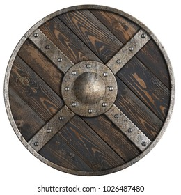 Wooden medieval round shield with metal frame and cross isolated 3d illustration