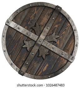 Wooden medieval round shield with metal frame and cross 3d illustration
