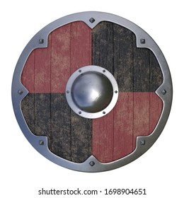 Wooden medieval round shield, viking shield painted black and red, isolated on white background, 3d rendering 3d illustration