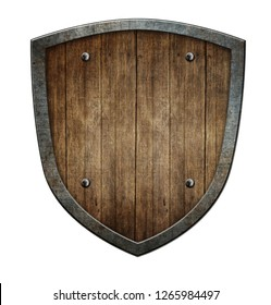 Wooden medieval shield isolated on white 3d illustration