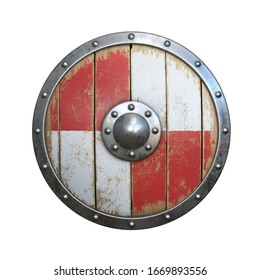 Wooden medieval shield, viking shield painted red and white, isolated on white background, 3d rendering