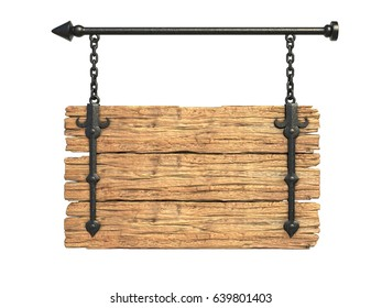 Wooden medieval sign board hanging on chain isolated on white 3d rendering