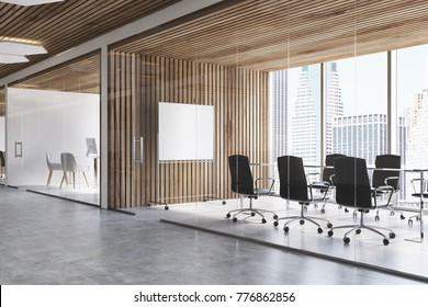 Wooden meeting room interior with a concrete floor, panoramic windows, a long table with chairs and a poster. 3d rendering mock up