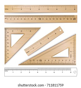 Wooden Metric Imperial Rulers. Centimeter And Inch. Measure Tools Equipment Illustration Isolated On White Background.