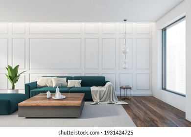 Wooden minimalist relax room with sofa and coffee table with dishes, ottoman on grey carpet. Parquet floor, plant and lamps, 3D rendering no people