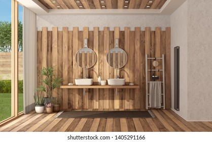 Wooden modern bathroom of a modern villa with double wahbasin - 3d rendering