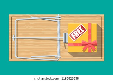 Wooden mouse trap with gift box with free sign, classical spring loaded bar trap. Top view. Fraud, freebie, crime and lie. illustration in flat style