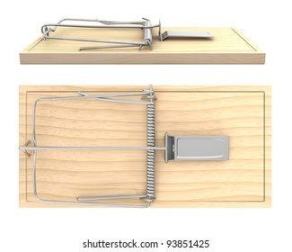 Wooden mouse trap, side and top view, isolated on white background