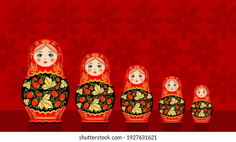 Wooden nesting dolls. Hand-painted. Matryoshka dolls are traditional Russian souvenirs.