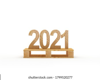 Wooden number 2021 on a cargo pallet isolated on a white background. 3d illustration.