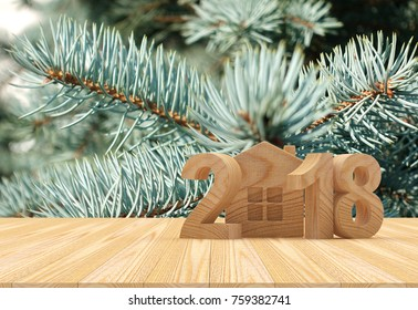 Wooden numbers 2018 New Year and house icon against the background of pine branches. 3D illustration