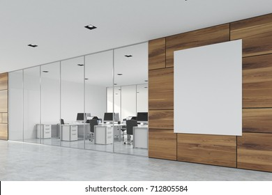 Wooden office lobby with a glass wall, a concrete floor, and a large vertical banner in the corner. 3d rendering mock up