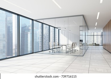 Wooden office lobby with a white wooden floor, panoramic windows, a glass conference room and several soft armchairs. Side view. 3d rendering