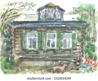 wooden old house with mezzanine watercolor drawing