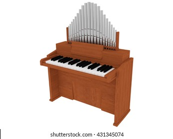 wooden organ instrument isolated 3D illustration