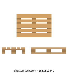 Wooden pallet. Flat design, top view, front and side view. Raster illustration.