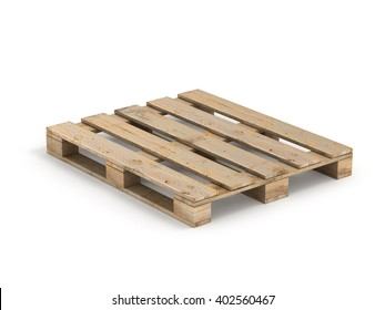 Wooden pallet. Isolated on white.3D illustration.