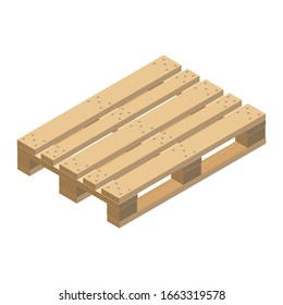 Wooden pallet, isometric design. Realistic image with the texture of light wood and with fasteners. 3D Render. Raster Illustration.
