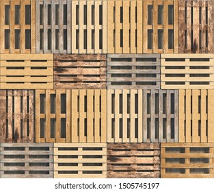 Wooden pallets of different colors and shapes lie in a row in a top view. Seamless texture or background. Creative decorative illustration. 3D rendering.