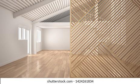 Wooden panel close-up, modern empty room with big mezzanine, parquet floor. Minimalist zen interior design concept idea, contemporary architecture template, 3d illustration