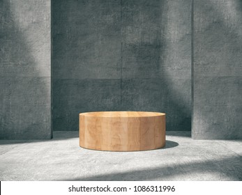 Wooden pedestal for display,Platform for design,Blank product stand with concrete empty room.3D rendering.