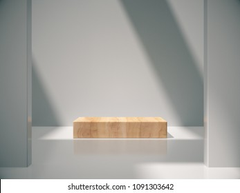Wooden pedestal for display,Platform for design,Blank product stand with empty white room.3D rendering.