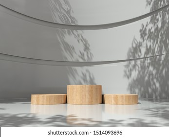 Wooden pedestal for display,Platform for design,Blank product in the white room with Tree shadow on the wall .3D rendering.