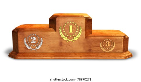 Wooden pedestal for trophies isolated on white background
