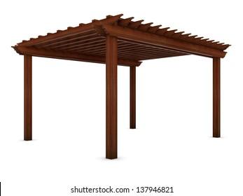 Wooden pergola on the white