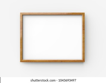 Wooden picture frame, 3d render blank thin frame with empty space for decorative uses