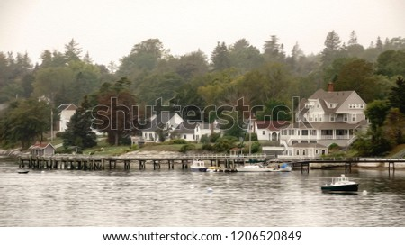 Wooden Pier Few Boats Near Houses Stock Illustration Royalty Free