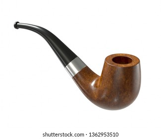 Wooden pipe 3D rendering isolated on white background