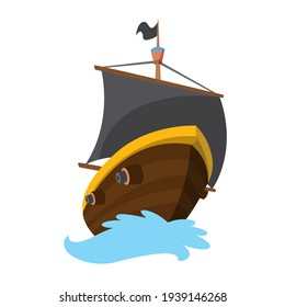 Wooden pirate buccaneer filibuster corsair sea dog ship icon game, isolated flat design. Color cartoon frigate.  illustration
