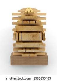 Wooden Planks - tree trunk, 3D model.