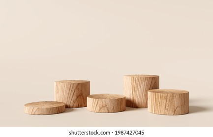 Wooden podium, Cosmetic display product stand on brown background. 3D rendering