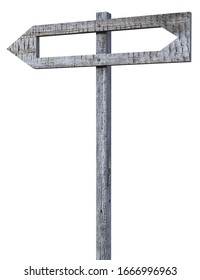 Wooden pointer on a pole with carved empty arrow inside showing in the opposite direction. 3d render, isolated on white.