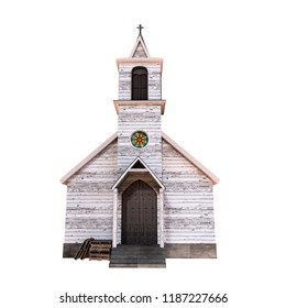 wooden presbyterian church isolated on white background 3d illustration