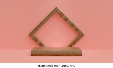Wooden Product Showcase Podium. Wood podium with square frame on Pink Background. Minimalist 3d Illustration