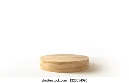Wooden product stage. 3D Rendering