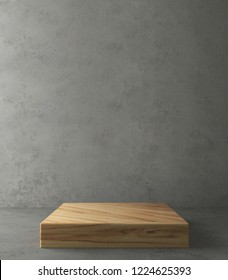 Wooden product stand on concrete background. 3D Rendering