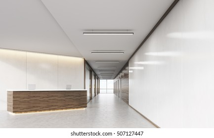 Wooden reception counter standing in modern establishment lobby with plastic and wood walls. Concept of minimalism. 3d rendering. Mock up.
