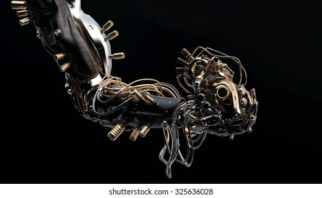 Wooden robotic arm holds artificial heart on black background / Wooden robotic arm holding heart on black
