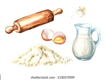 Wooden rolling pin, broken egg, pile of flour and  jug of milk.. Cookig set. Watercolor hand drawn illustration, isolated on white background