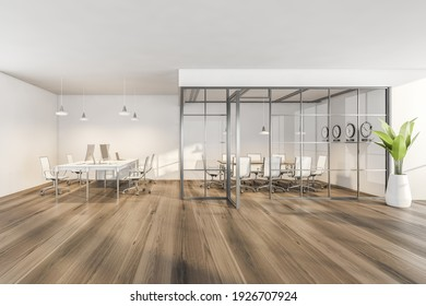 Wooden room with armchairs and tables with computers, clock on the wall. Minimalist furniture in open space room behind glass doors in business interior, 3D rendering no people